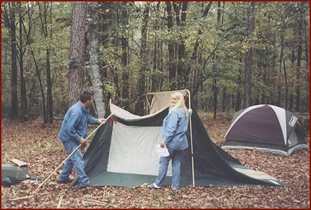 Pitchinu0027 The Tent. We ended up having plenty of room in  The Shelter  for folks to sleep because several couples decided to bring tents this trip. & Brushyland - November 2001